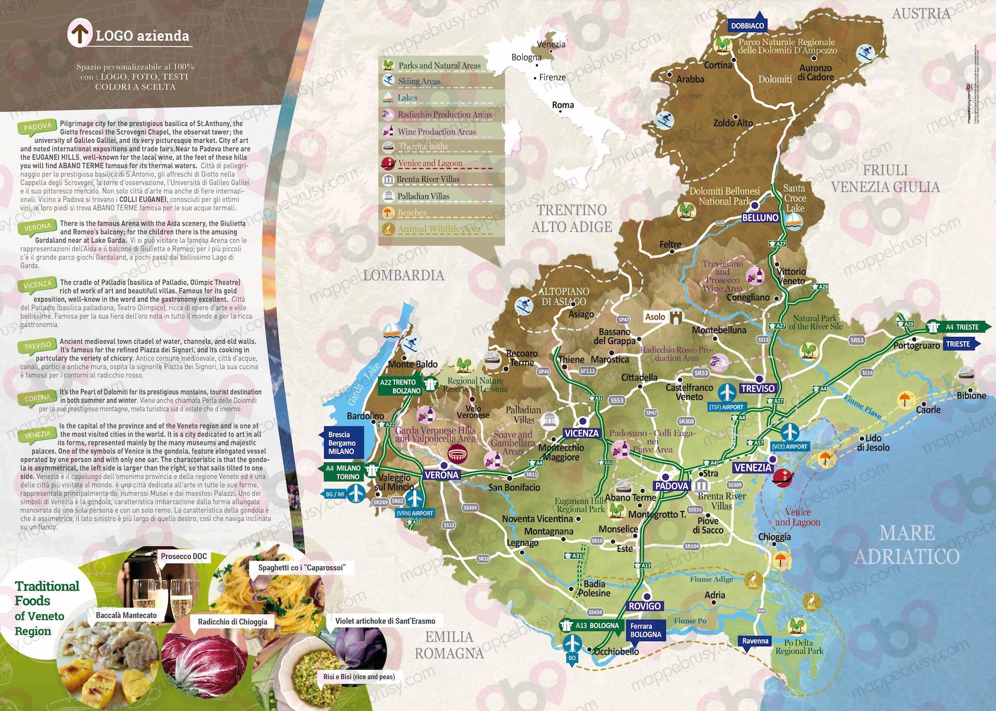 Cartina Spiagge Veneto.Il Veneto Regione Che Si Estende Dalle Dolomiti Al Mare Adriatico
